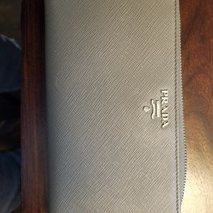 Prada saffino zip-around wallet- Gray